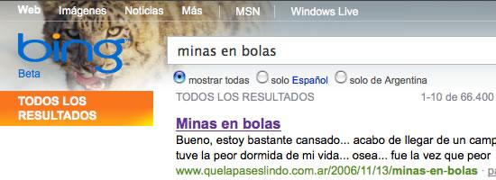 Bing: Buscando Minas en bolas