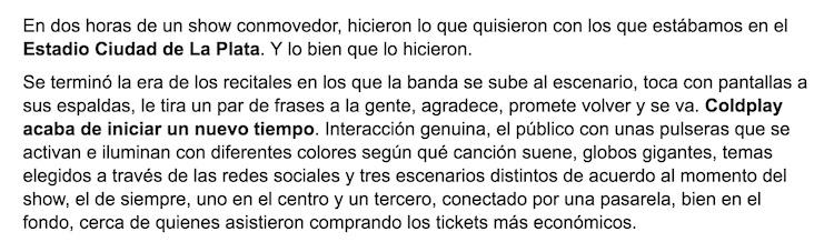 Crónica de Coldplay en Buenos Aires