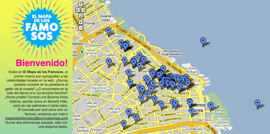 El mapa de los famosos argentinos